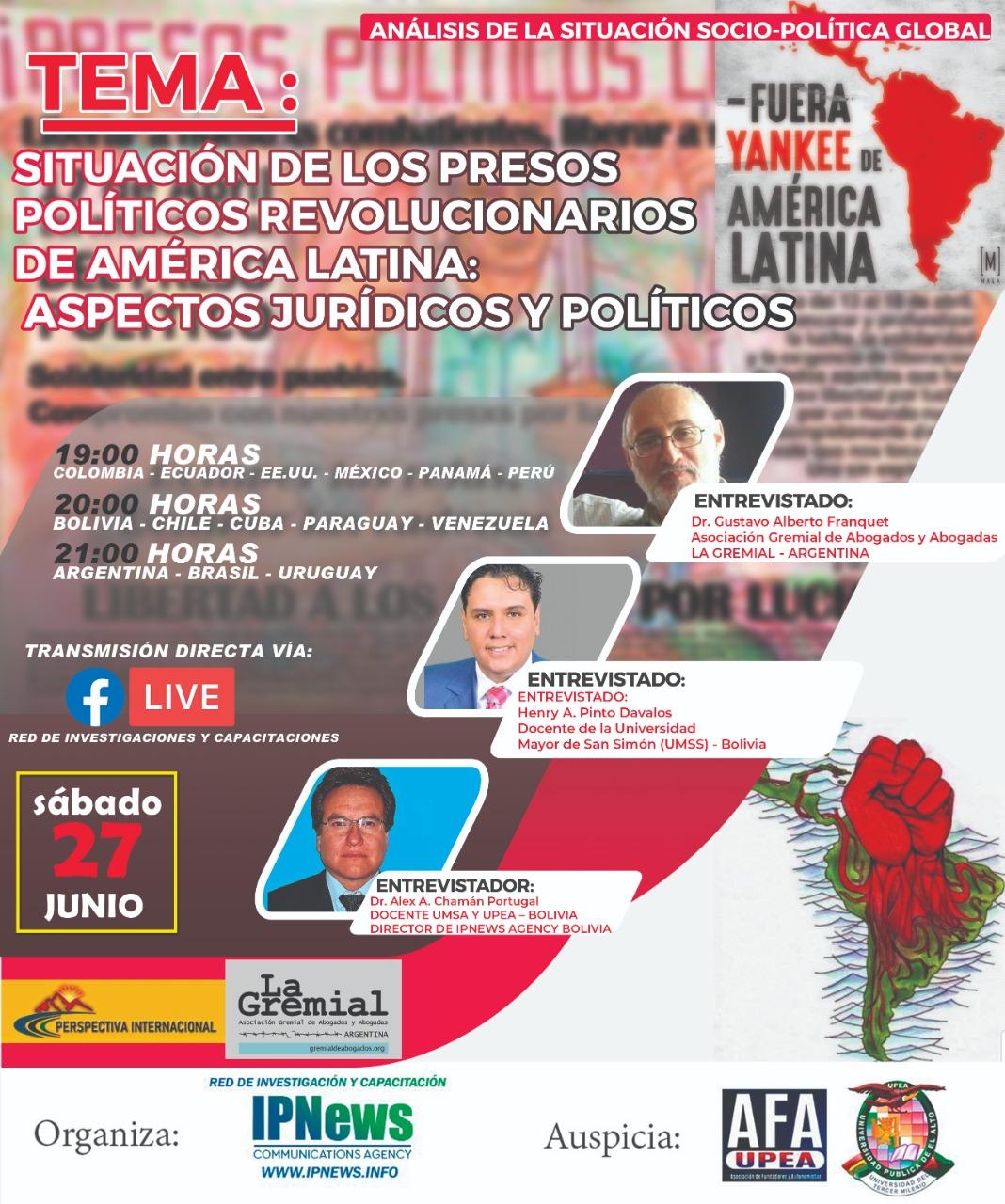 SITUACIÓN DE LOS PRESOS POLÍTICOS REVOLUCIONARIOS EN AMÉRICA LATINA. ASPECTOS JURIDICOS Y POLITICOS