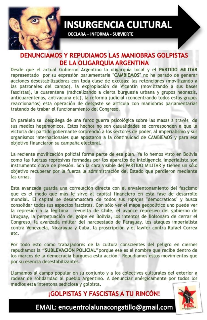 FIEL: DENUNCIA Y REPUDIA LAS MANIOBRAS GOLPISTAS  DE LA OLIGARQUIA ARGENTINA