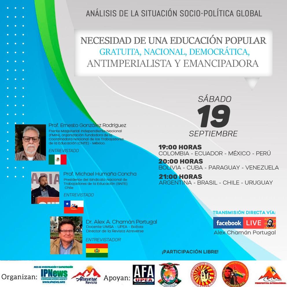 NECESIDAD DE UNA EDUCACIÓN POPULAR, GRATUITA Y EMANCIPADORA