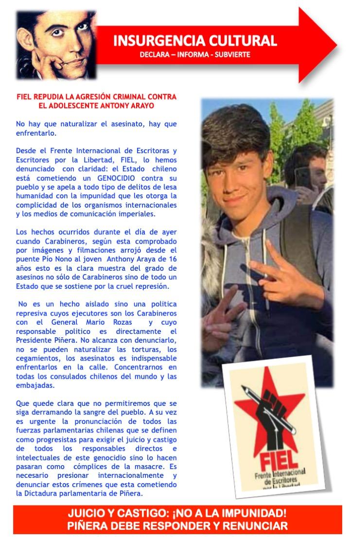 ESCRITORES REPUDIAN AGRESIÓN CRIMINAL DE CARABINEROS CONTRA ADOLESCENTE
