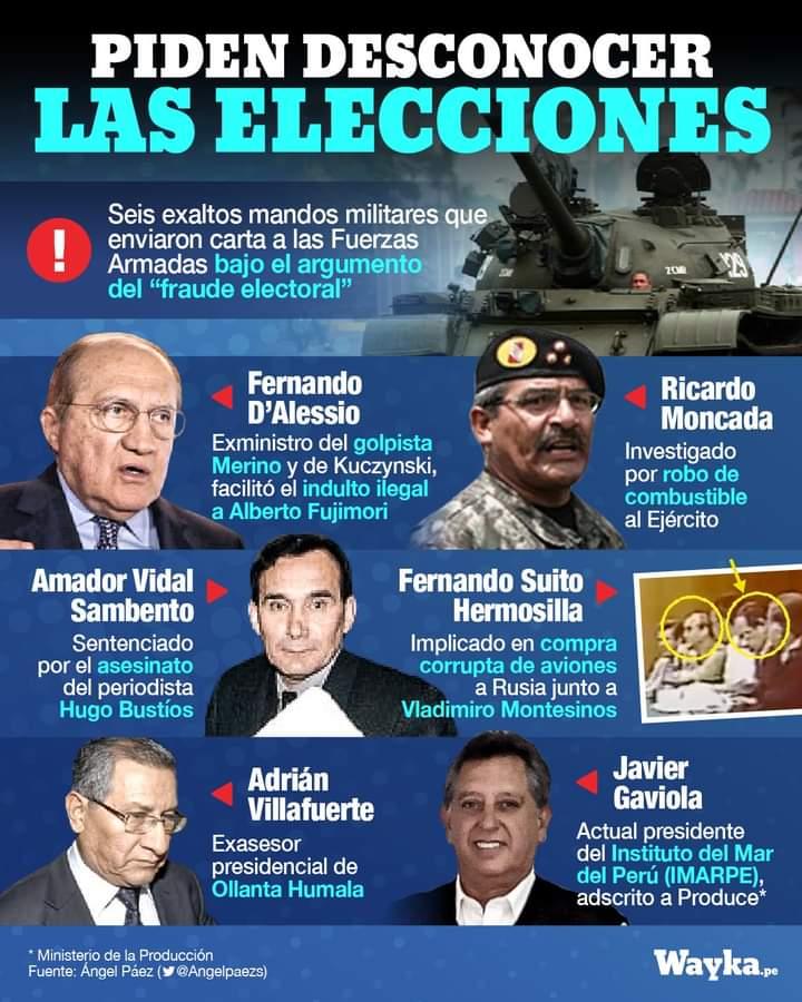 """MILITARES RETIRADOS DENUNCIAN """"FRAUDE ELECTORAL"""" NO COMPROBADO EN PERÚ"""